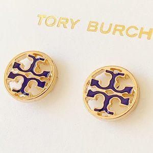 Tory Burch-navy blue signature logo earrin…